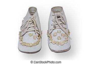 antigüedad, childrens, shoes
