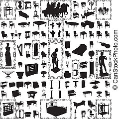 antigüedad, cien, vector, muebles