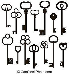 antigüedad, colección, llaves