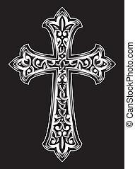 antigüedad, cristiano, cruz, vector