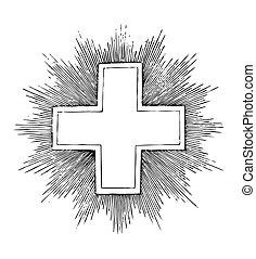 antigüedad, cruz, grabado, (vector)