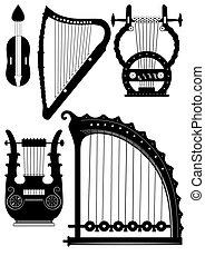 antigüedad, cuerdas, instrumentos