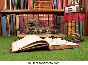 antigüedad, cuero, libros, lámpara, y, cristales de la lectura, en, verde, blotter.