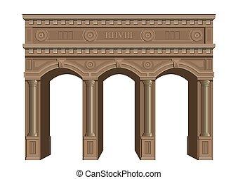 antigüedad, de madera, arch.