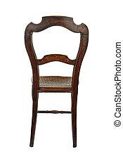 antigüedad, de madera, -, espalda, silla, vista