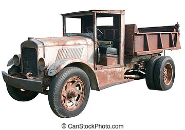 antigüedad, descargue camión