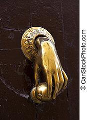 antigüedad, door-knocker, oro, mano