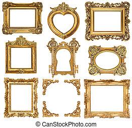 antigüedad, dorado, estilo, conjunto, frames., objetos, ...