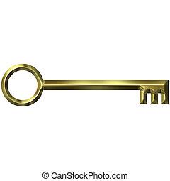 antigüedad, dorado, llave, 3d