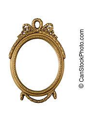 antigüedad, dorado, marco