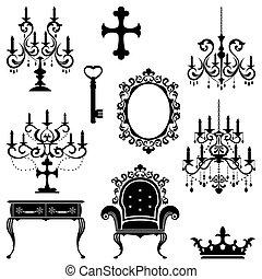 antigüedad, elemento del diseño, conjunto