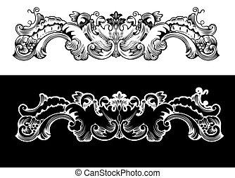 antigüedad, elemento del diseño, grabado, scalable, y,...