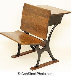 antigüedad, escuela, silla, y, escritorio