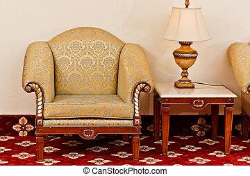antigüedad, estilo, sofá