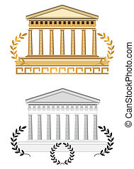 antigüedad, fachada, templo