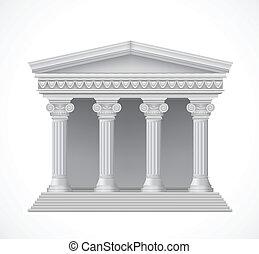 antigüedad, frente, griego, vector, temple., vista