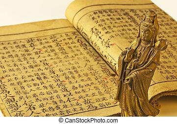 antigüedad, geomantic, libro, chino