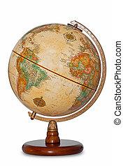 antigüedad, globo del mundo, aislado, recorte, path.