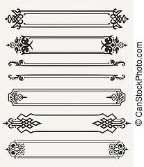 antigüedad, grabado, conjunto, retro, marcos