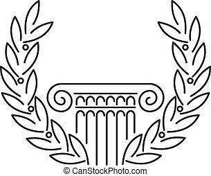 antigüedad, griego, columna, y, laurel