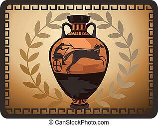 antigüedad, griego, florero