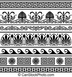 antigüedad, griego, fronteras, conjunto, vector