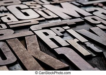 antigüedad, grungy, texto impreso, madera, tipo, imprimir bloquea
