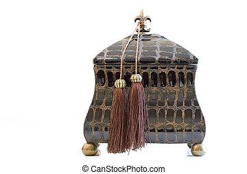 antigüedad, hermoso, joyas, caja de madera, aislado,...