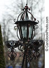antigüedad, hermoso, ramas, cielo, nieve, contra, lamppost,...