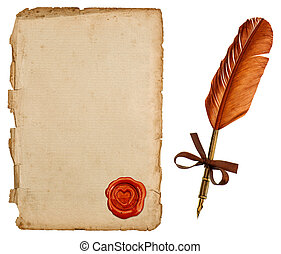 antigüedad, hoja, vendimia, sello, pluma, papel, tinta