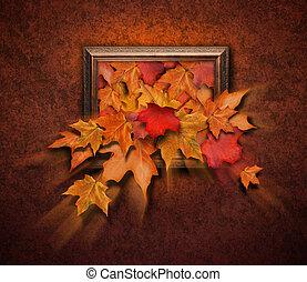 antigüedad, hojas, otoño, venida, marco, afuera