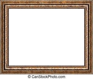 antigüedad, imagen, dorado, marco, aislado, rústico