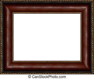 antigüedad, imagen, marco de madera, aislado, oscuridad