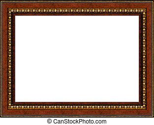 antigüedad, imagen, marco de madera, aislado, rústico