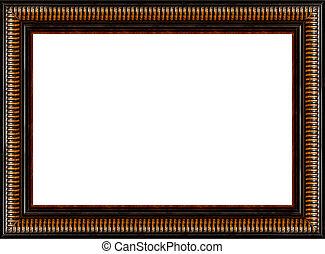 antigüedad, imagen, marco de madera, aislado, rústico, negro