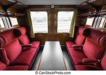 antigüedad, interior, tren