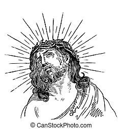antigüedad, jesús, grabado, (vector)