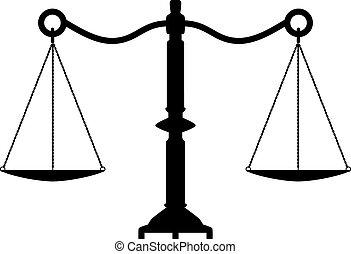 antigüedad, justicia, vector, escalas
