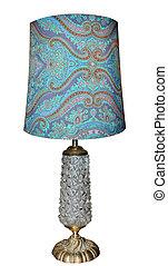 antigüedad, lámpara, con, vidrio, base