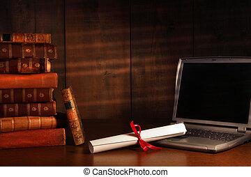 antigüedad, libros, computador portatil, diploma, escritorio