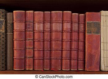 antigüedad, libros, fila