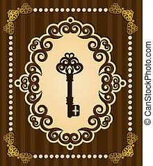 antigüedad, llave, tapiz, fondo.