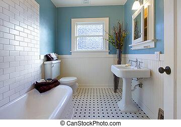 antigüedad, lujo, diseño, de, azul, cuarto de baño