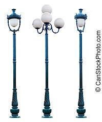 antigüedad, luz, aislado, lámpara, poste, calle, lamppost,...