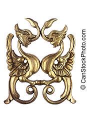 antigüedad, madera, dorado, ornamento