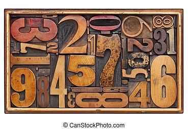 antigüedad, madera, número, resumen
