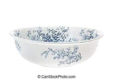 antigüedad, mano, pintado, washbowl, aislado, blanco, plano...