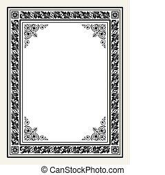 antigüedad, marco, vector, florido