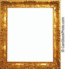 antigüedad, marco, viejo, oro