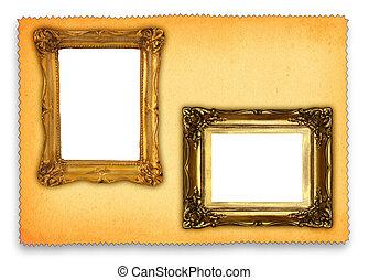 antigüedad, marcos, retro, plano de fondo, contra